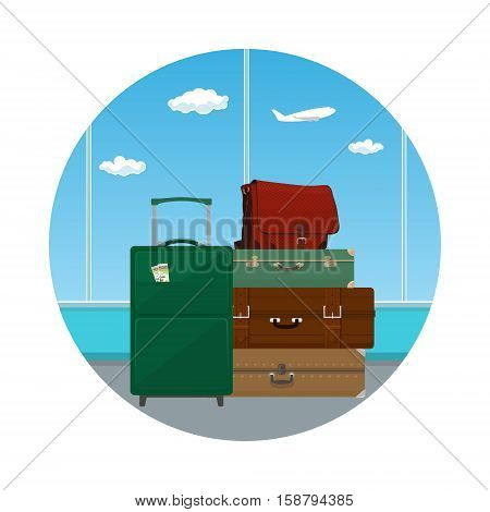 Icon Retro Colored Suitcases and Trolley Suitcase and Travel Bag against the Window in the Waiting Room at the Airport, Luggage Bags for Traveling, Travel and Tourism Concept ,Vector Illustration