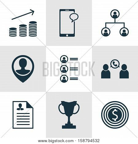 Set Of Hr Icons On Coins Growth, Curriculum Vitae And Tree Structure Topics. Editable Vector Illustration. Includes Structure, User, Job And More Vector Icons.