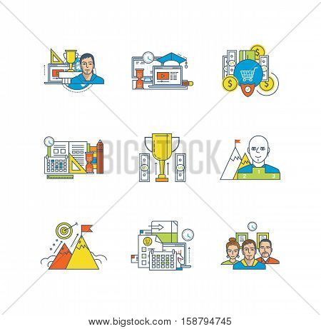 Business and management, stratefy, education, leadership, school disciplines, purpose and motivation, teamwork icons set over white background. Flat line icons for infographics design elements.