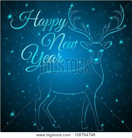 NewYear reindeer on snowflakes dots stars background.Graceful noble animal reindeer on blue soft glow surrounding, happy new year wish postcard.New Year reindeer silhouette - blue reindeer with antlers
