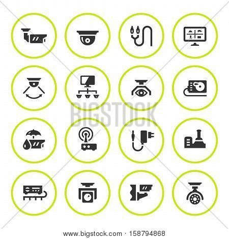 Set round icons of video surveillance isolated on white. Vector illustration