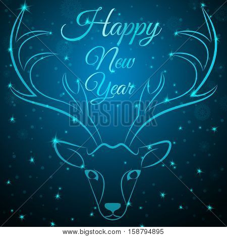 NewYear reindeer head on snowflakes dots stars background.Graceful noble animal reindeer on blue soft glow surrounding, happy new year wish postcard.New Year reindeer silhouette-reindeer head w antlers