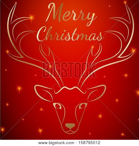 Merry Christmas reindeer head on stars dots background.Graceful noble animal reindeer on red soft glow surrounding, xmas wish postcard.Merry Xmas reindeer silhouette-red reindeer head with antlers