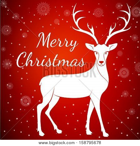 Merry Christmas reindeer on snowflakes dots background.Graceful noble animal reindeer on red soft glow surrounding, xmas wish postcard.Merry Xmas reindeer - white reindeer with antlers