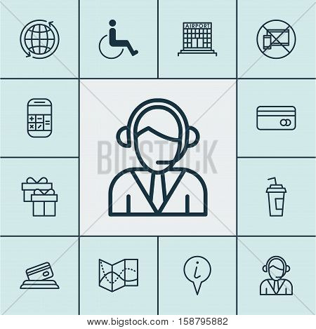 Set Of Airport Icons On Accessibility, Road Map And Forbidden Mobile Topics. Editable Vector Illustration. Includes Paper, Mobile, Paralyzed And More Vector Icons.