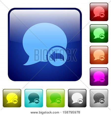 Reply blog comment color glass rounded square button set