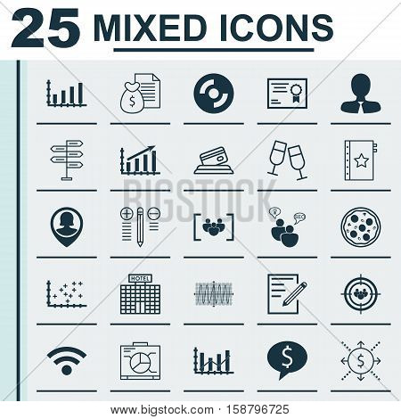 Set Of 25 Universal Editable Icons. Can Be Used For Web, Mobile And App Design. Includes Icons Such As Manager, Questionnaire, Dynamics And More.