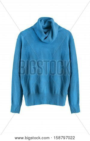 Blue cashmere sweater isolated over white background
