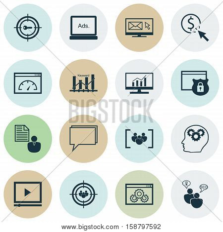 Set Of Advertising Icons On Market Research, Report And Focus Group Topics. Editable Vector Illustration. Includes Focus, Online, Brief And More Vector Icons.