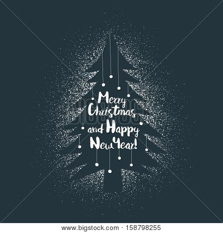 Merry Christmas and Happy New Year greeting card poster logo with lettering on stencil xmas tree on spray background. Vector layered illustration.
