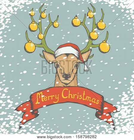 Christmas deer vector illustration. Reindeer head with horn, Santa hat and toys. Inscription Merry Christmas and snow