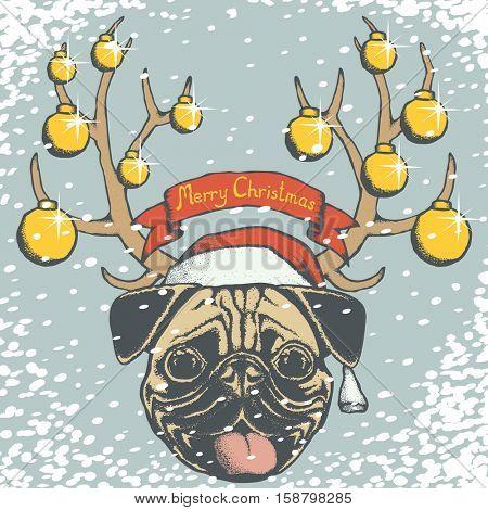 Christmas pug dog vector illustration. Pug dog head with Santa hat. Inscription Merry Christmas and snow