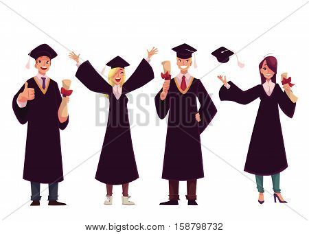 Set of happy students in traditional caps and gowns celebrating successful graduation, cartoon style illustration isolated on white background. Students in academic dress graduated from University