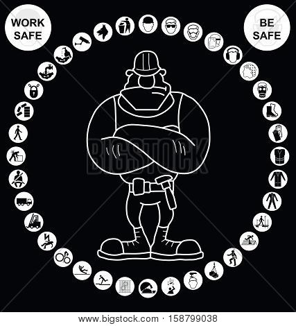 White circular construction manufacturing and engineering health and safety related cruciform icon collection isolated on black background with work safe be safe message