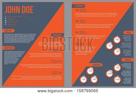 Two sided resume curriculum vitae cv design template with large orange stripe