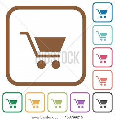 Empty cart simple icons in color rounded square frames on white background