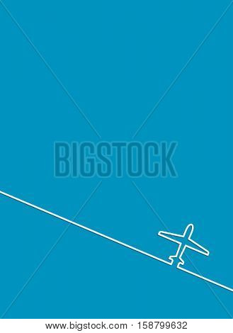 blue abstract background with plane outline icon