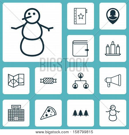 Set Of 12 Universal Editable Icons. Can Be Used For Web, Mobile And App Design. Includes Icons Such As Winter, Announcement, Warranty And More.