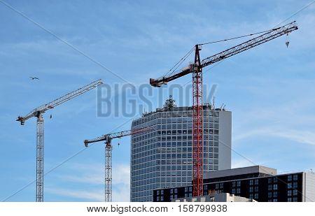 Three cranes in the Birmingham city center