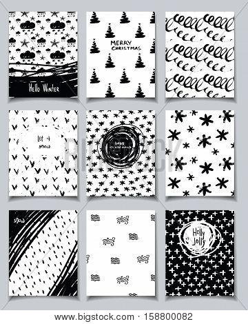 Vector hand drawn doodle card set. Winter holidays theme. Collection of cute black and white template with quotes for New Year Christmas holiday business birthday party invitations.