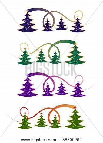 Festive Christmas tree design in four colour styles