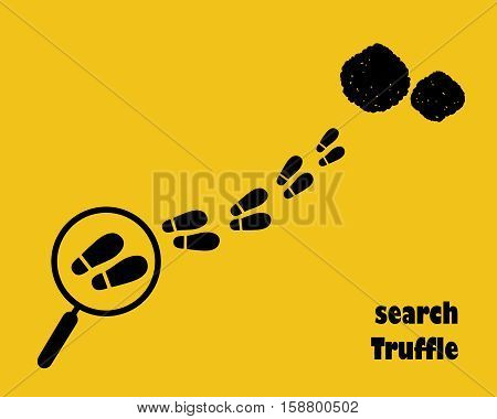 Magnifying glass with footstep. Search truffle. Flat style.