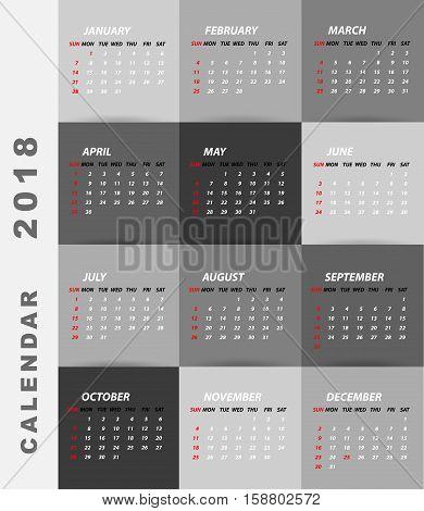 2018 calendar minimalist design.Calendar of year 21018