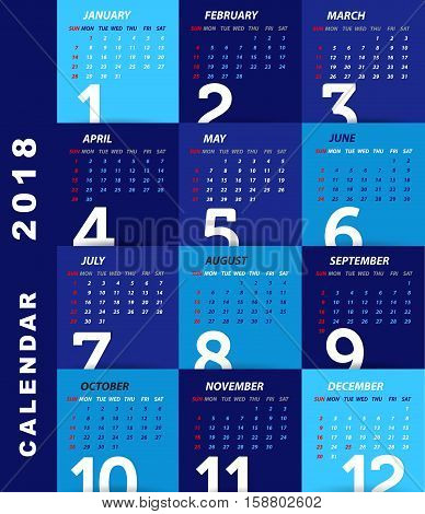 2018 Calendar template . modern design of calendar 2018