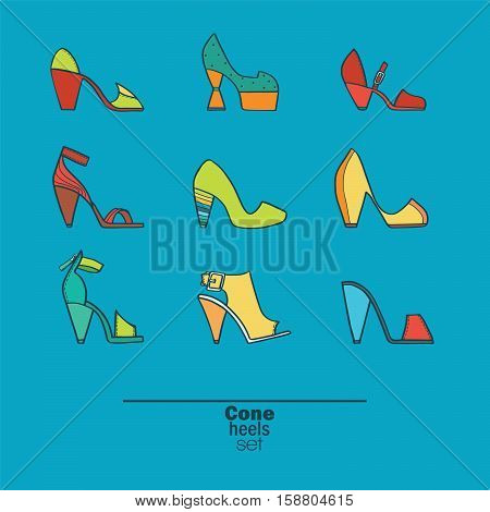 Beautiful set of isolated on background flat vector shoes hand drawn in stylish collection of cone heels. Fashion illustration good for creative design. Color image in bright colors on blue background