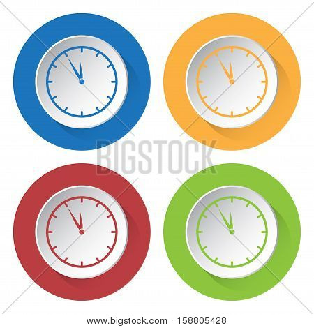 Set of four round colored buttons and icons. Last minute clock.