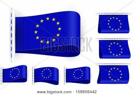 National state flag of European Union; Sewn clothing label tag; Vector icon set EU flags Eps10; Blue version