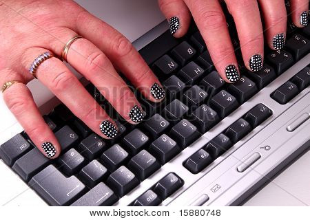 Nail Art  - Computer Keyboard.