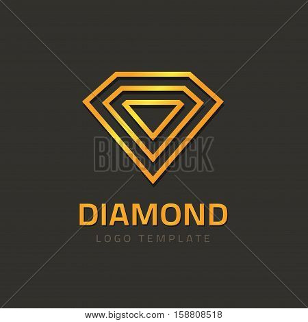 Abstract jewelry vector logo element, line outline diamond logotype design, gem stone creative symbol, golden jewellry concept, geometric brilliant shape