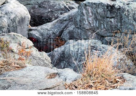 Rugged, rocky terrain on mountain, climbing, hiking, adventure