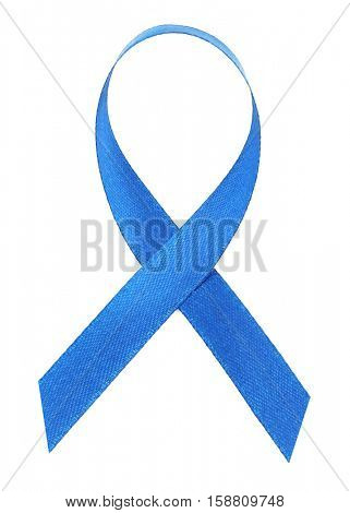 Blue ribbon on white background. Colon cancer concept