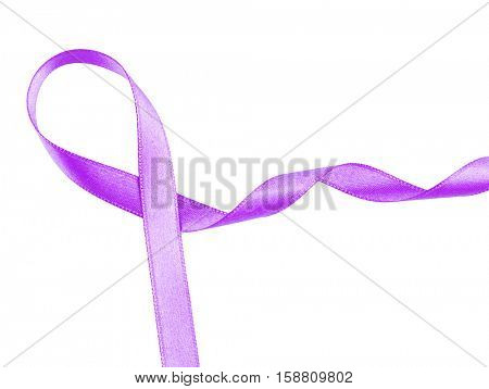 Violet ribbon on white background. Family violence, Alzheimer disease and pancreas cancer concept