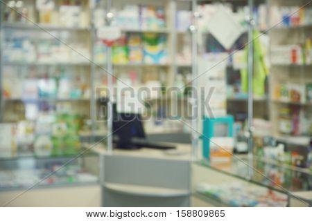 Blurred pharmacy drugstore background