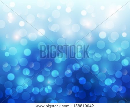 Christmas abstract background blue blinking bokeh.