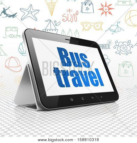 Tourism concept: Tablet Computer with  blue text Bus Travel on display,  Hand Drawn Vacation Icons background, 3D rendering
