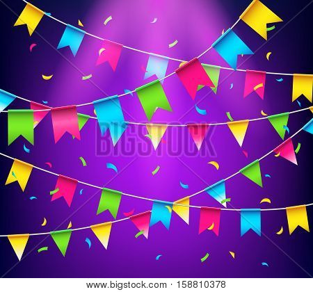 Multicolored bright buntings garlands. Celebrate banner. Party flags with confetti