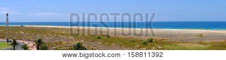 Panoramic view on the beach Playa de Morro Jable on the Canary island Fuerteventura Spain.