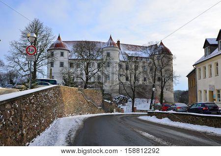 castle in village Nossen in Germany in Europe