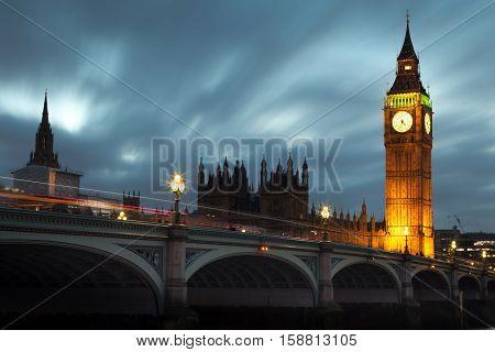 Big Ben and Westminster bridge Long exposure of Big Ben and Westminster Bridge in London