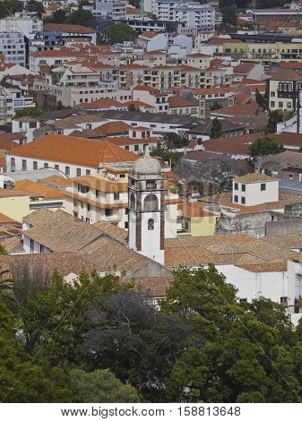 Portugal Madeira Elevated view of Funchal city