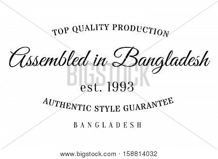 Assembled In Bangladesh Rubber Stamp