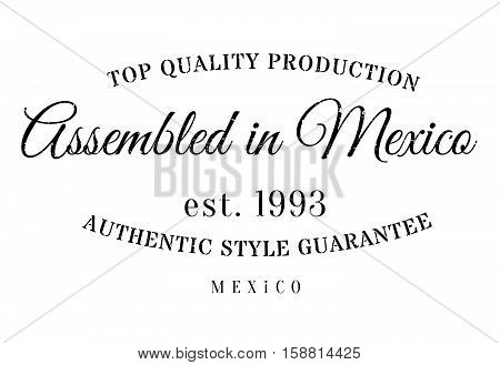 Assembled In Mexico Rubber Stamp