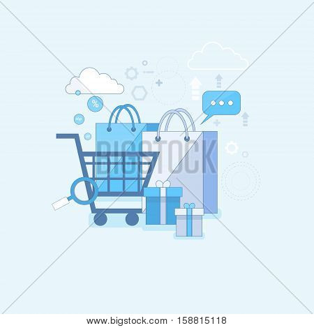 Online Shopping Internet Buy Commerce Thin Line Vector Illustration