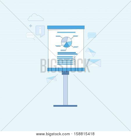 Presentation Seminar Training Conference Financial Chart Pie Diagram Thin Line Vector Illustration