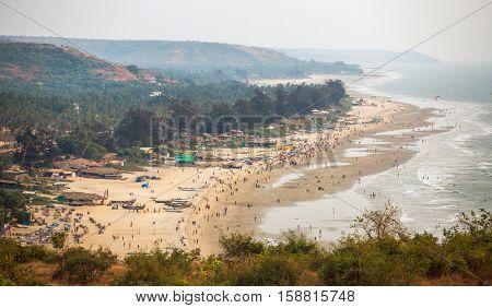 Aerial view of Arambol beach in Goa state, India