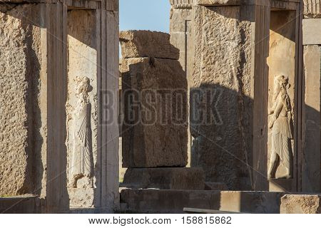 Stone bas-relief in the ancient city Persepolis, Iran.